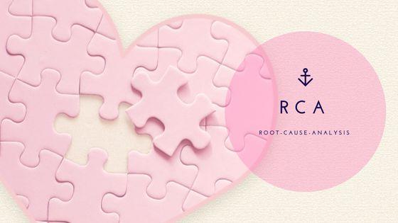 RCAの文字とハート型のピンクのジグソーパズル