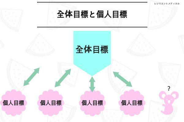 個人の看護目標と全体の目標を解説した図