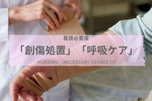患者に創傷処置をする看護師