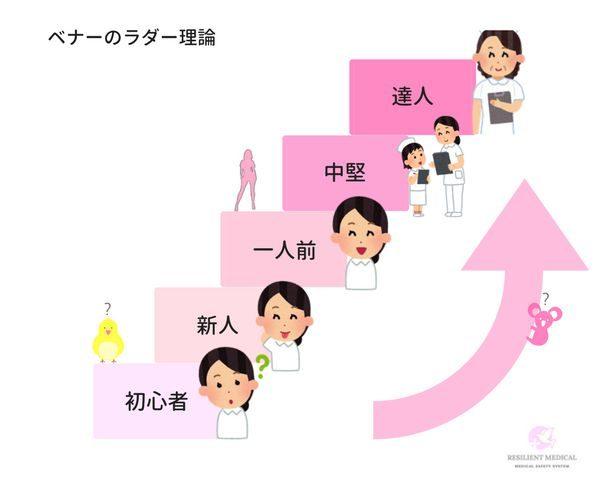 クリニカルラダーの理論と段階を解説した図